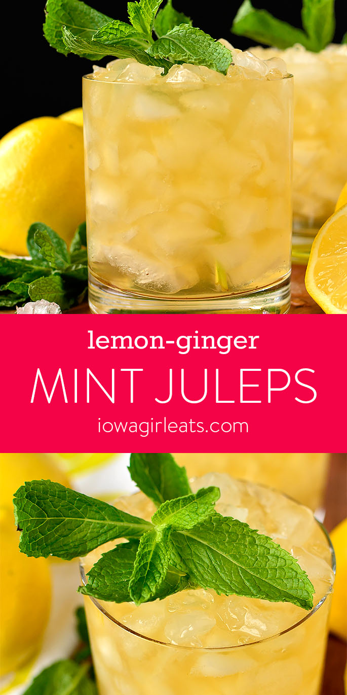 Photo collage of Lemon-Ginger Mint Juleps | iowagirleats.com