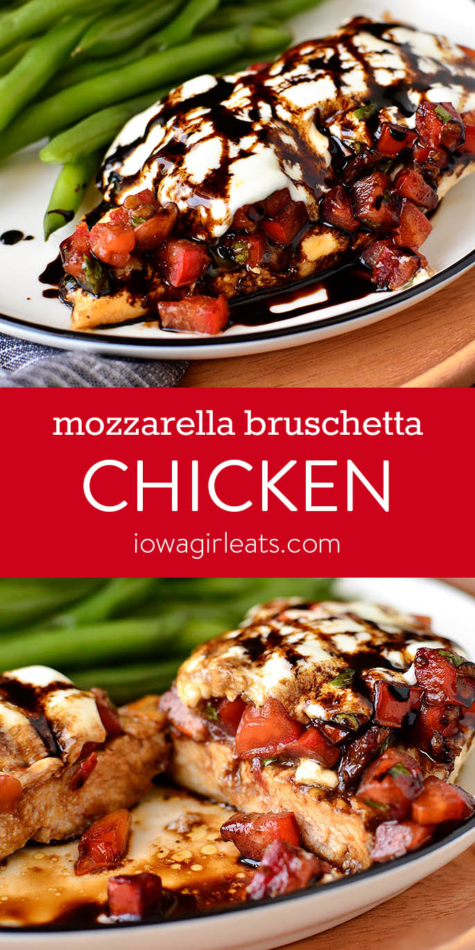 Photo collage of Mozzarella Bruschetta Chicken | iowagirleats.com