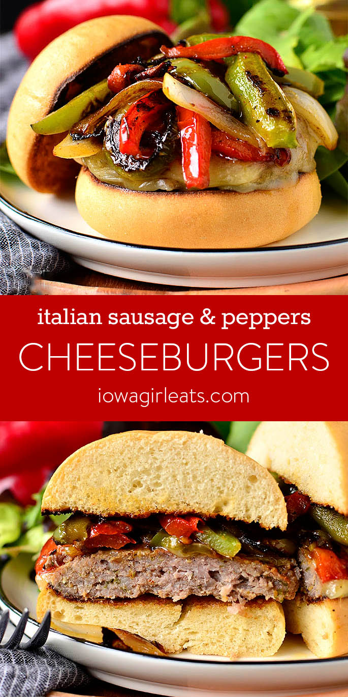 Italian Sausage and Peppers Cheeseburgers photo collage