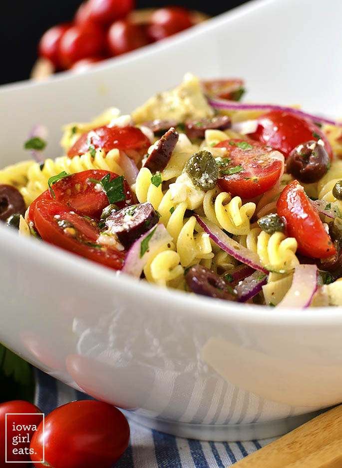 Close up photo of Mediterranean Pasta Salad