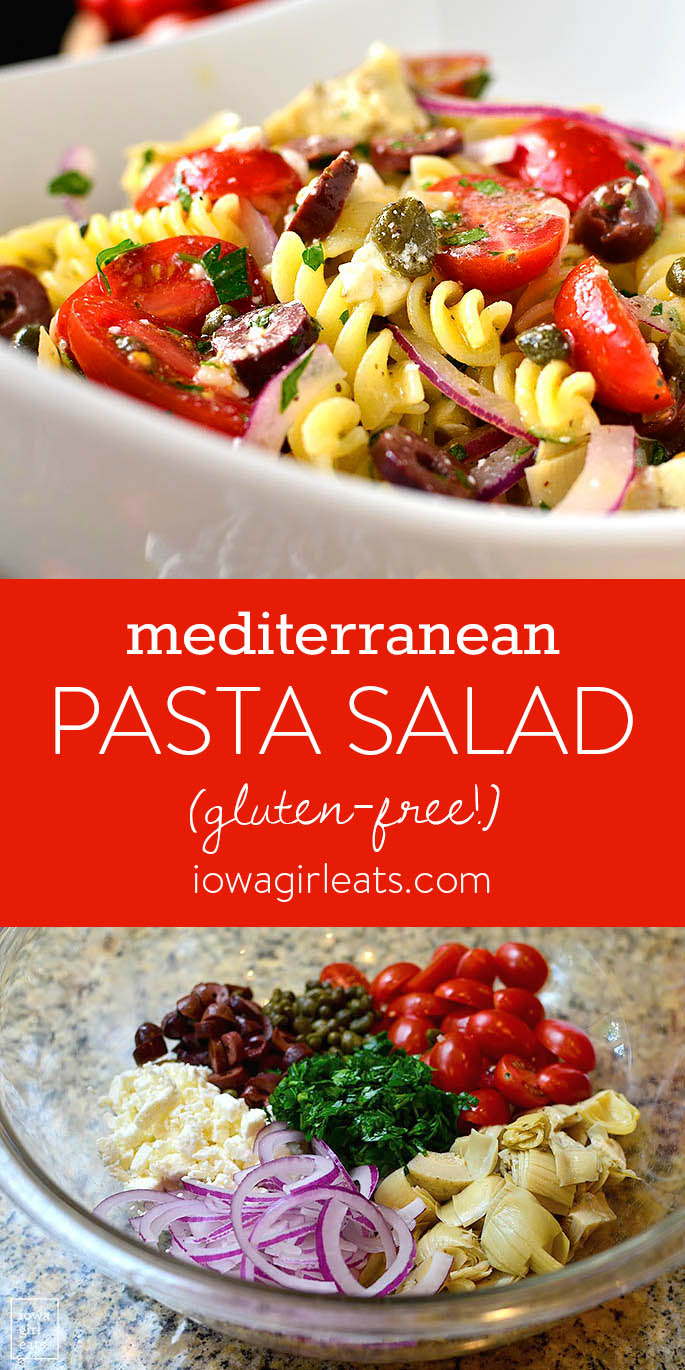 Photo collage of Mediterranean Pasta Salad