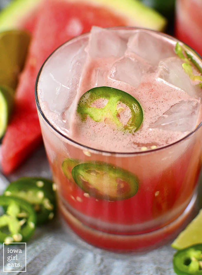 Close up photo of Watermelon Jalapeno Margaritas
