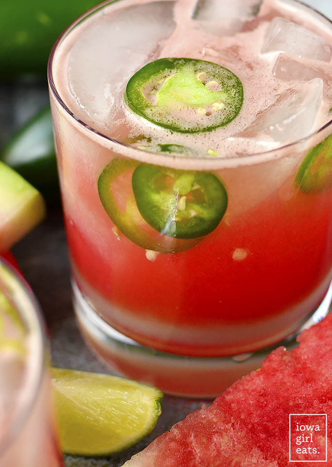 Photo of Watermelon Jalapeno Margaritas in a rocks glass