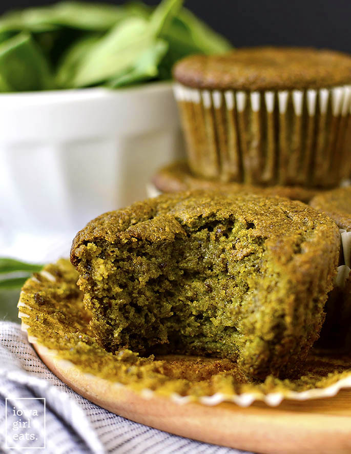 Green Smoothie Muffin with a bite taken out of it.