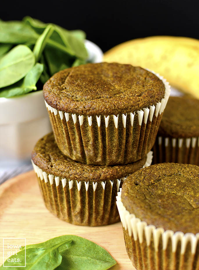 Three Green Smoothie Muffins on a plate.