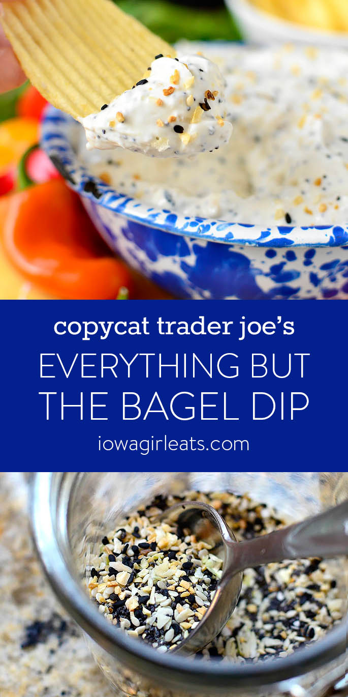 Photo collage of Copycat Trader Joe's Everything But the Bagel Dip