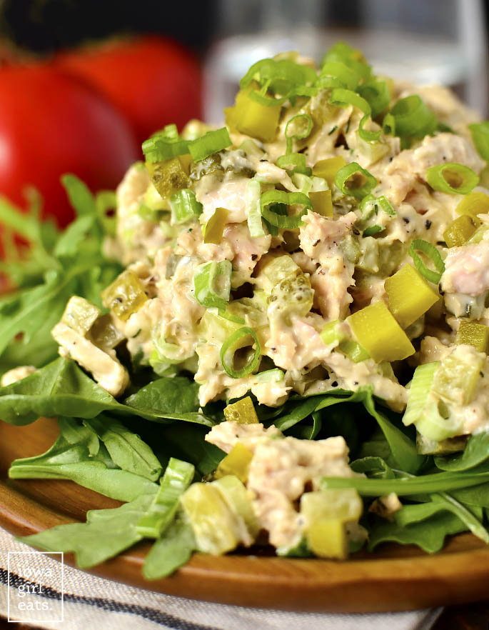 Cose up photo of Dill Pickle Tuna Salad.