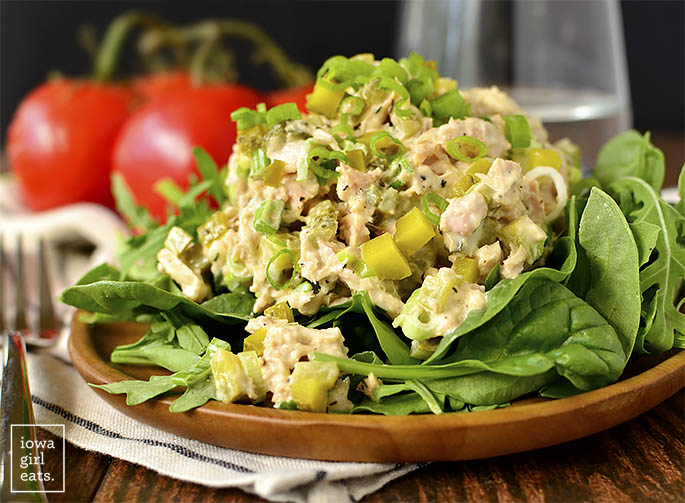 Horizontal photo of plate of Dill Pickle Tuna Salad