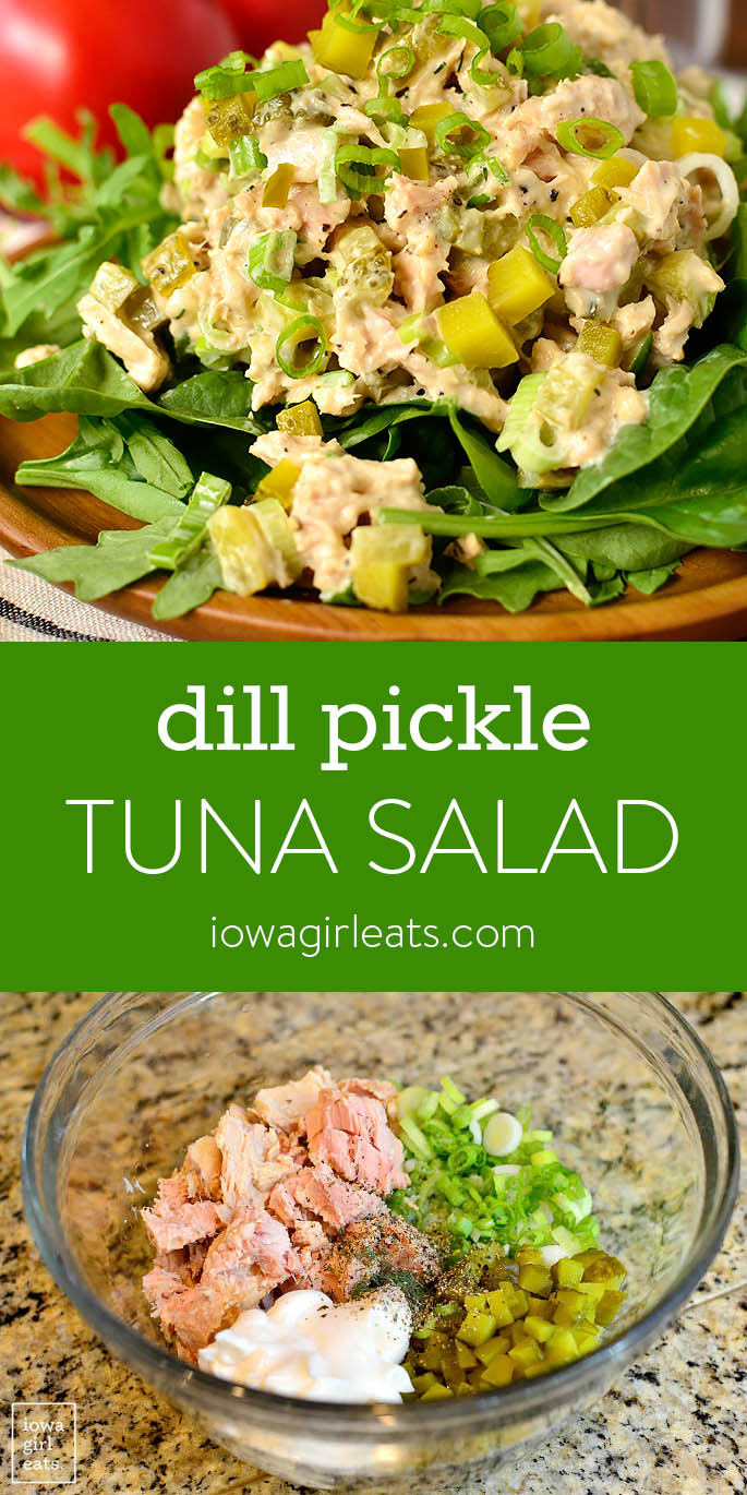 Photo collage of Dill Pickle Tuna Salad