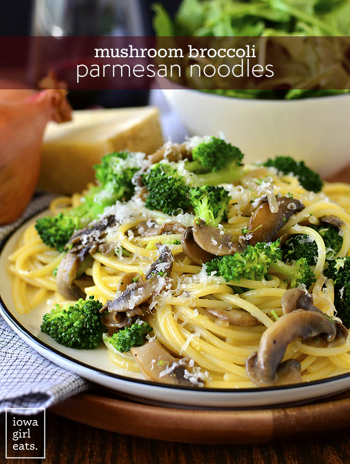 Plate of Mushroom Broccoli Parmesan Noodles