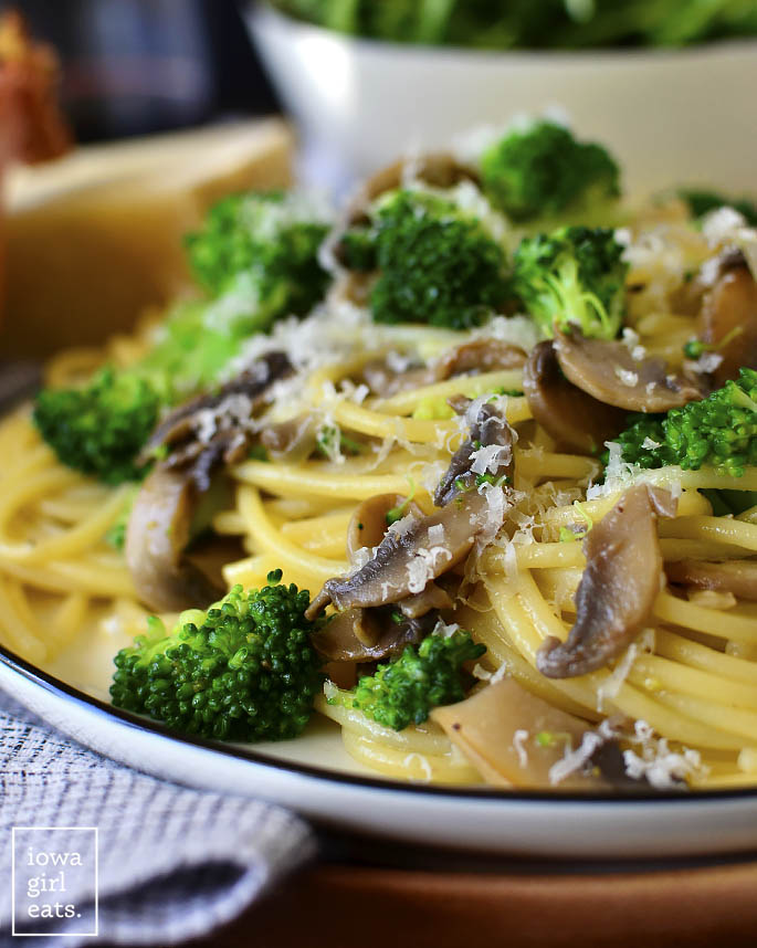 Close up photo of plate of Mushroom Broccoli Parmesan Noodles