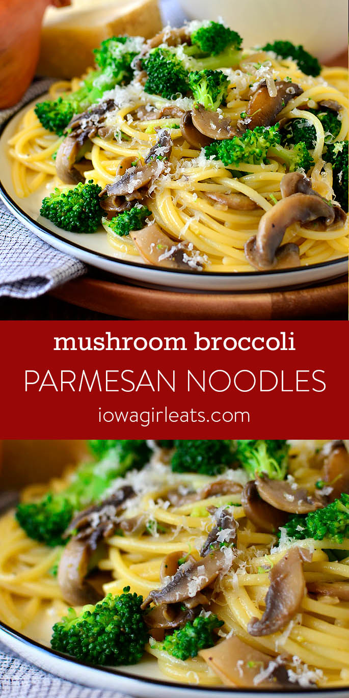 Photo collage of Mushroom Broccoli Parmesan Noodles