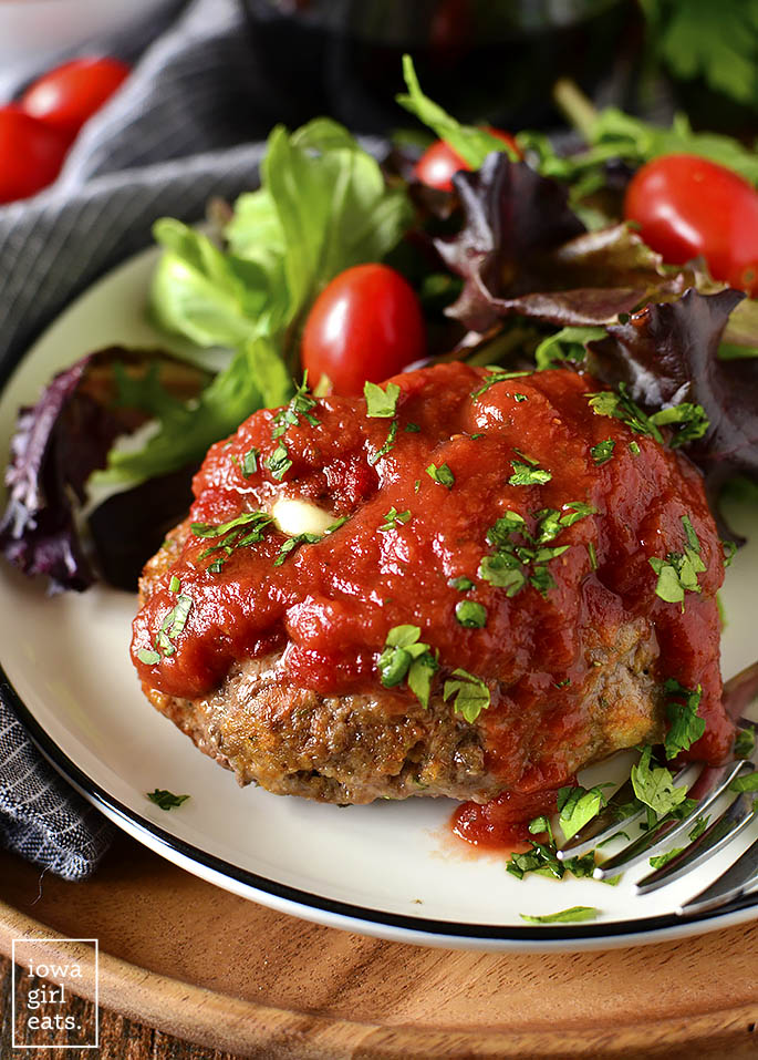 Overhead photo of Stuffed Italian Meatball Mini Meatloaves