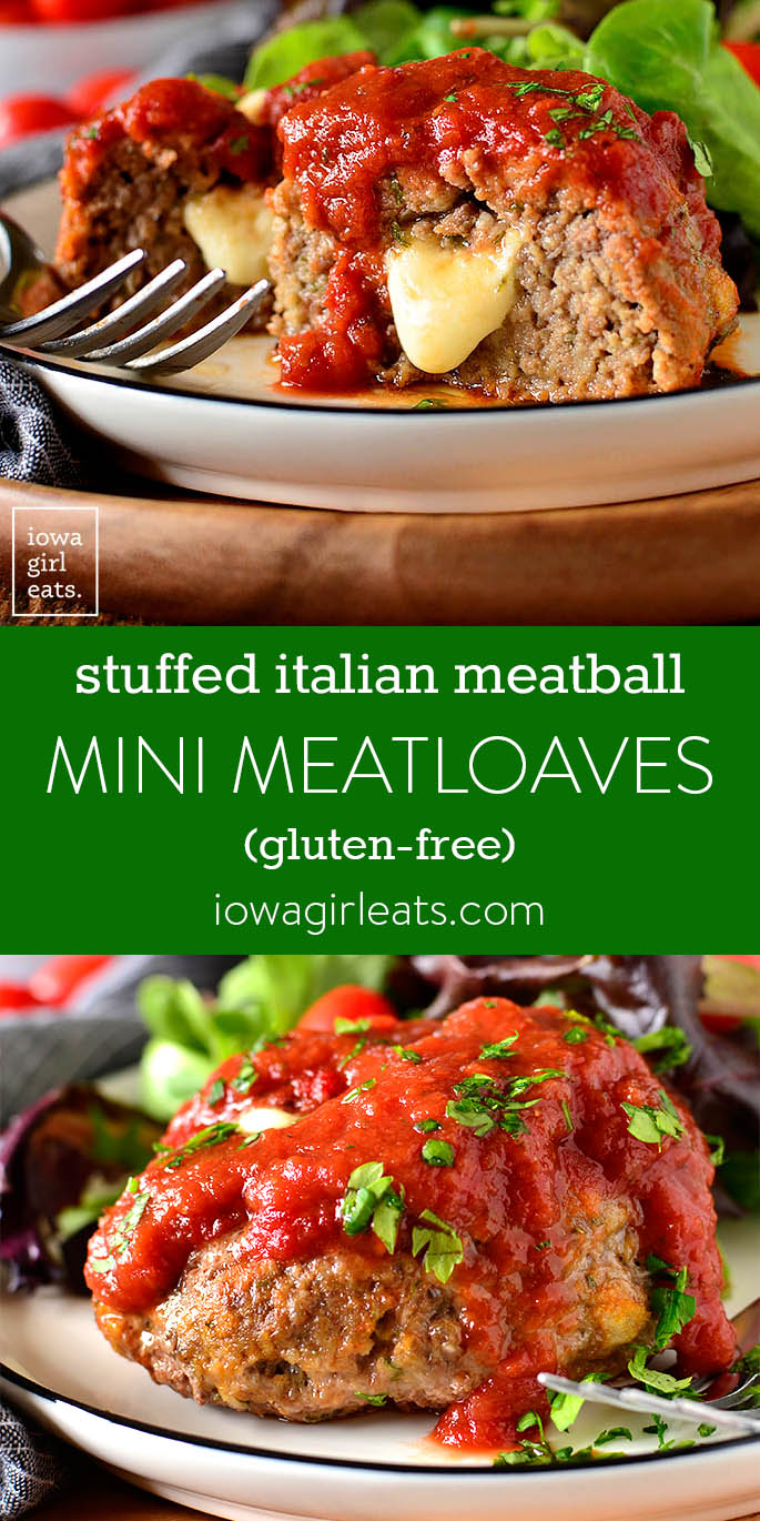 Photo collage of Stuffed Italian Meatball Mini Meatloaves