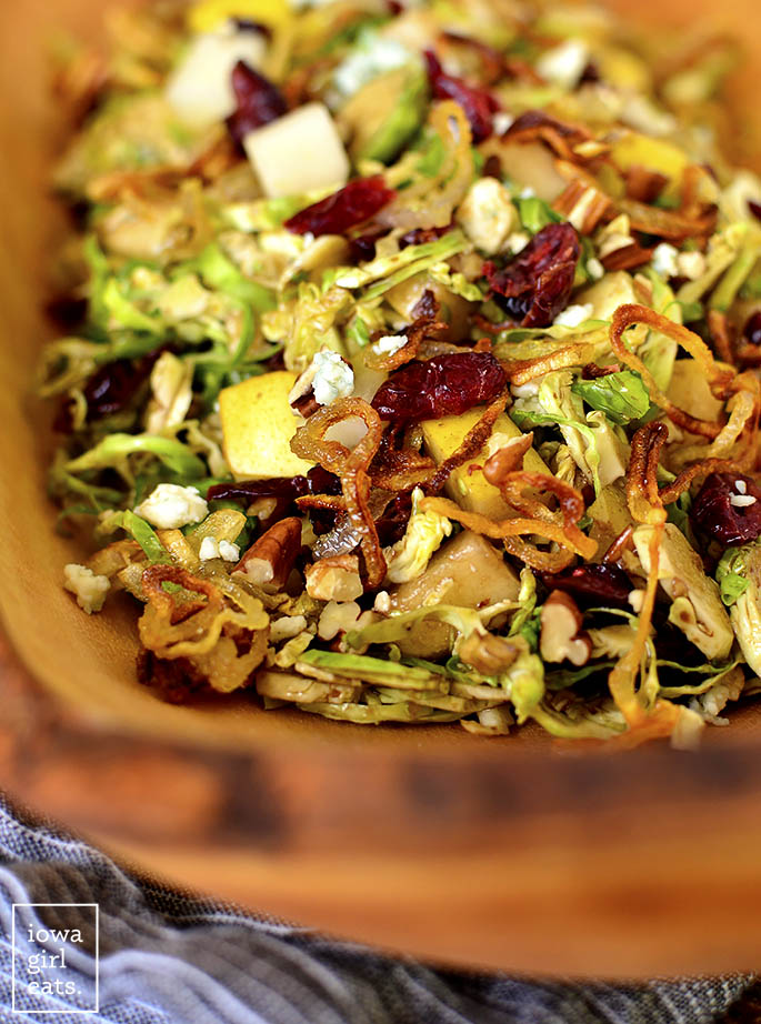 Close up photo of Fall Shredded Brussels Sprouts Salad