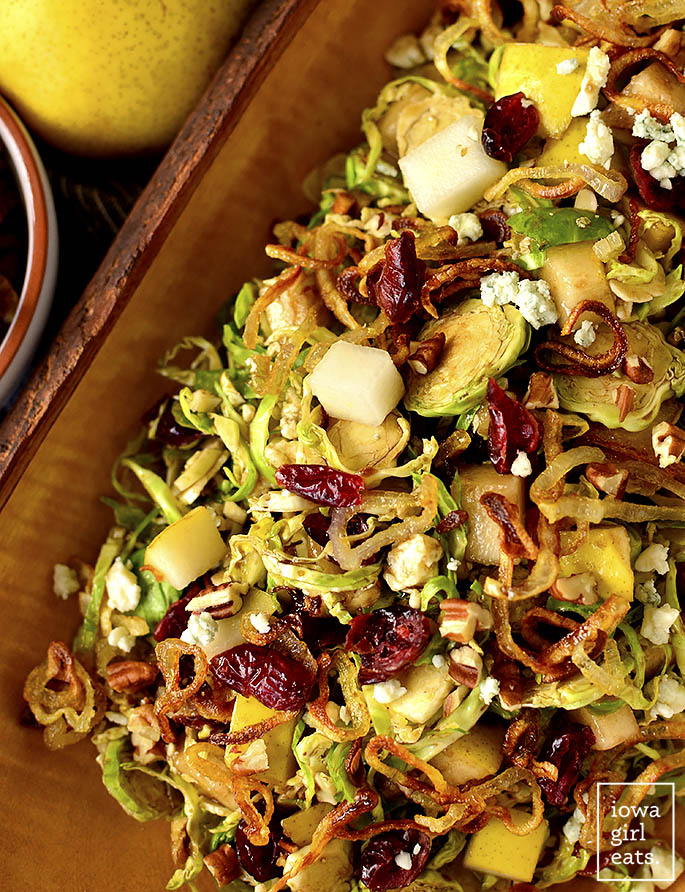 Overhead photo of Fall Shredded Brussels Sprouts Salad
