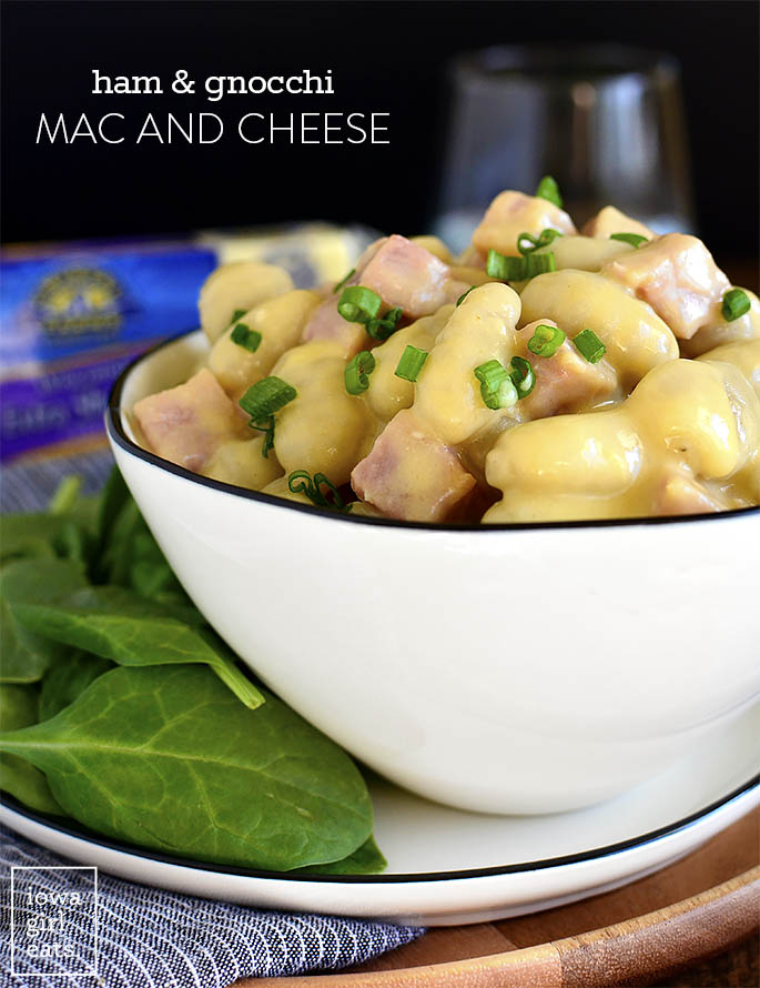 Large bowl of Ham and Gnocchi Mac and Cheese
