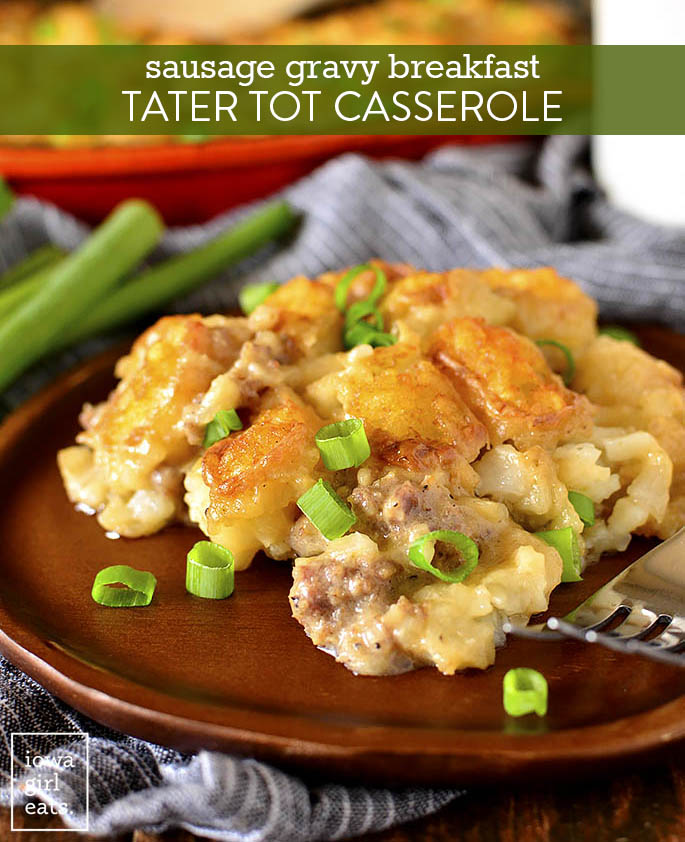 Plate of Sausage Gravy Breakfast Tater Tot Casserole
