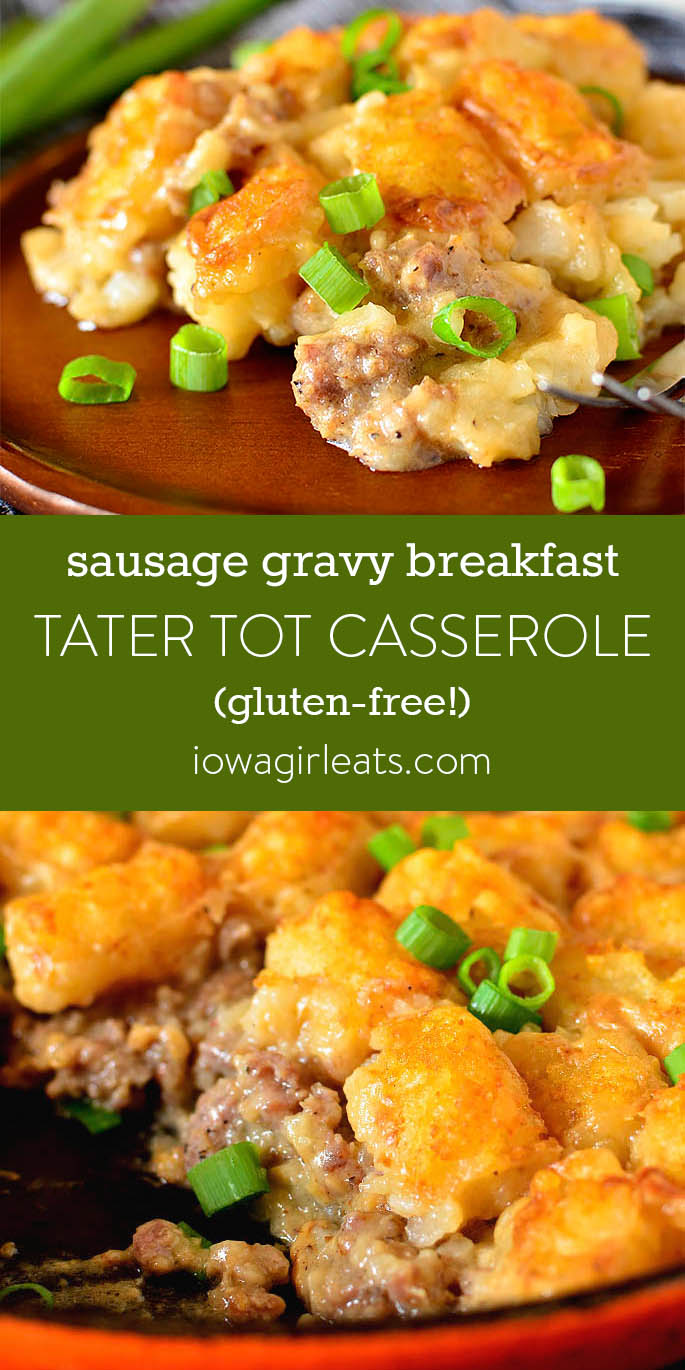 Photo collage of Sausage Gravy Breakfast Tater Tot Casserole