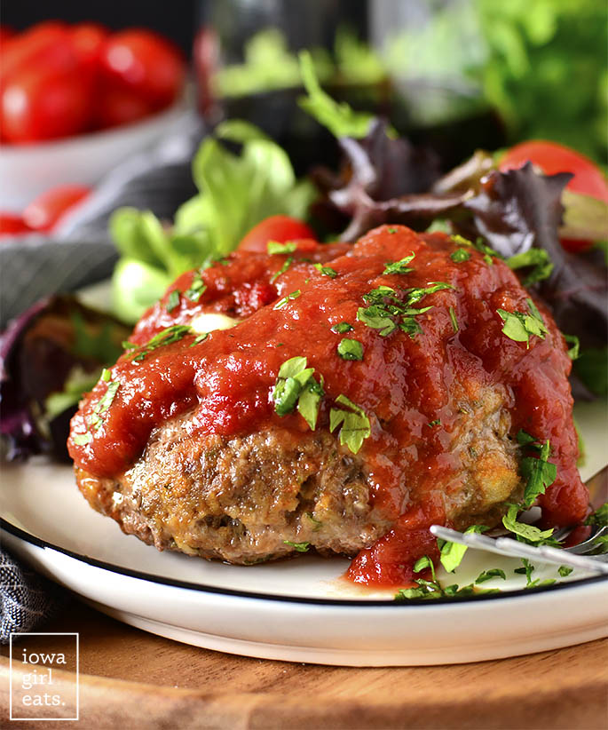 Stuffed Italian Meatball Mini Meatloaves on a plate.