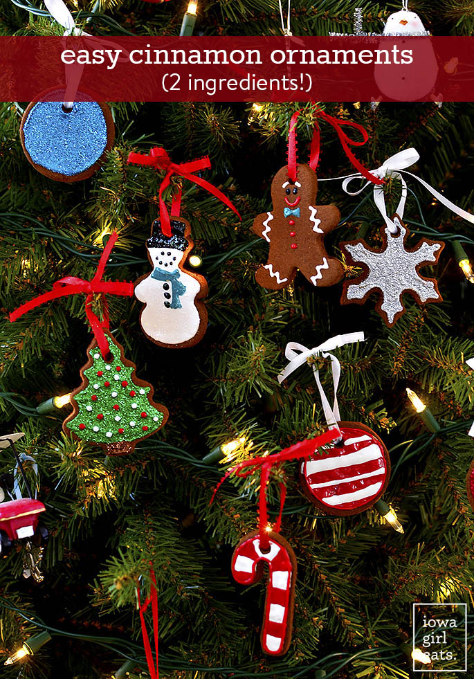 Easy Cinnamon Ornaments on a Christmas tree