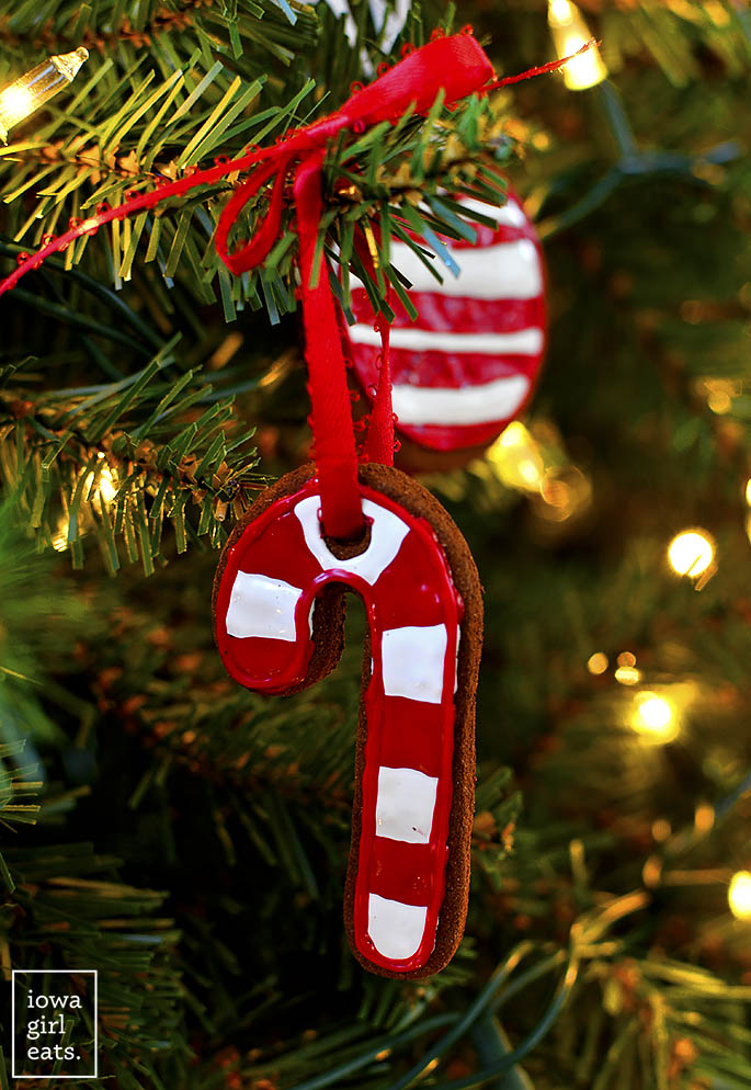 Easy Cinnamon Ornaments candy cane cut out