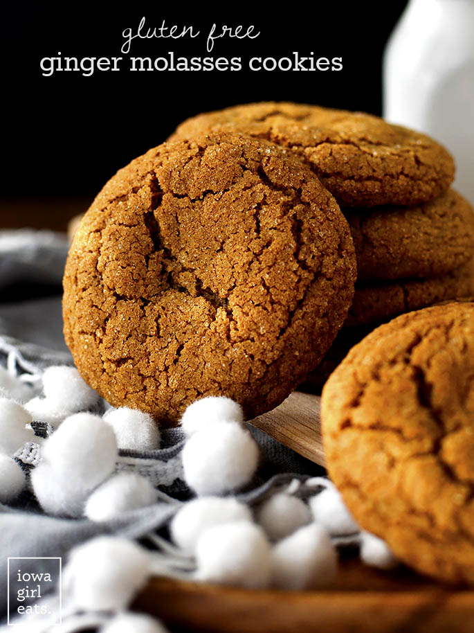 A Gluten Free Ginger Molasses Cookie propped against a stack of cookies.