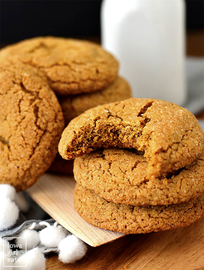 Gluten Free Ginger Molasses Cookie with a bite taken out of it.