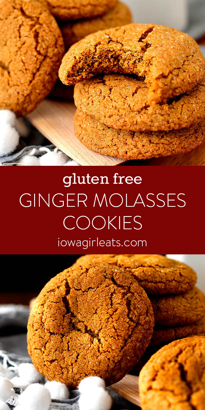Photo collage of Gluten Free Ginger Molasses Cookies