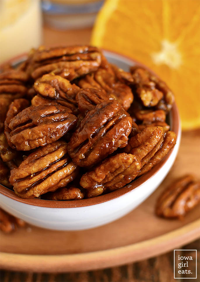 Close up photo of Orange Candied Pecans