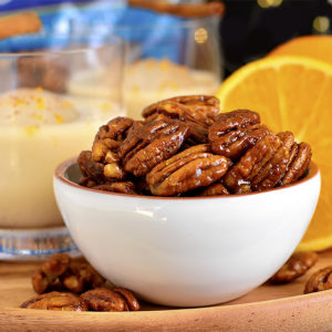 Orange Candied Pecans with Spiked Eggnog