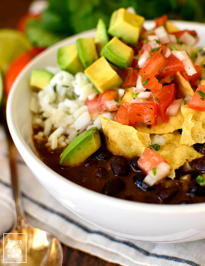 Black Bean Soup topped with toppings