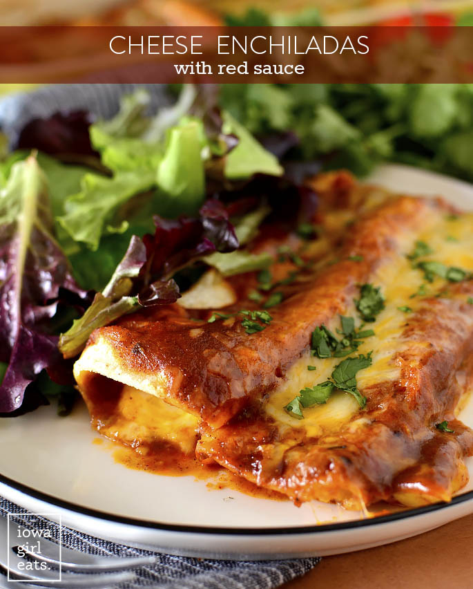 Cheese Enchiladas with Red Sauce on a plate