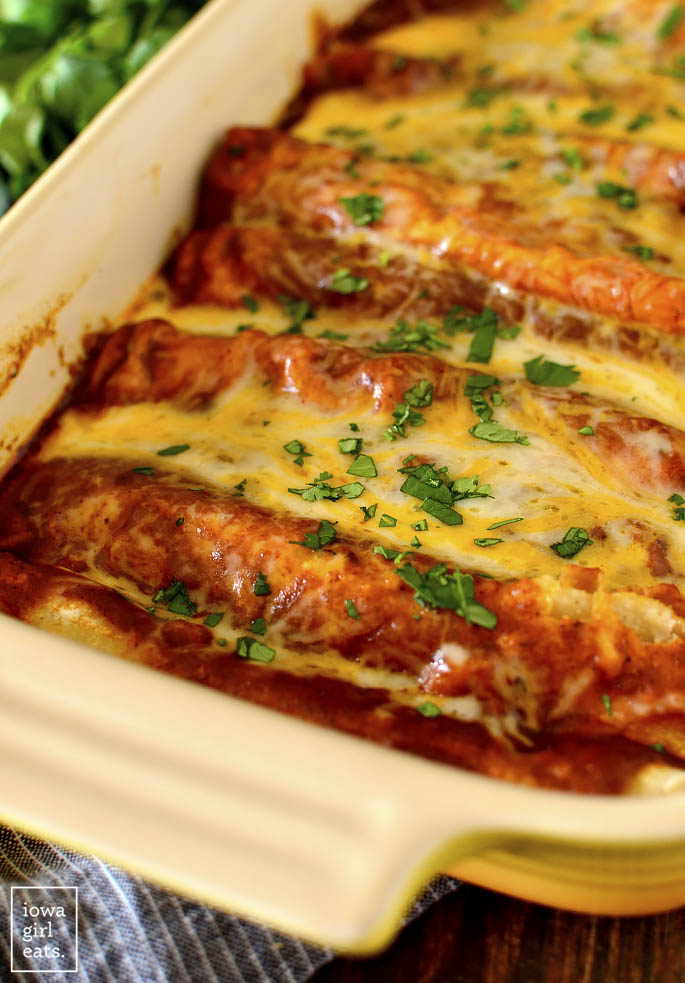 Cheese Enchiladas with Red Sauce in a casserole dish