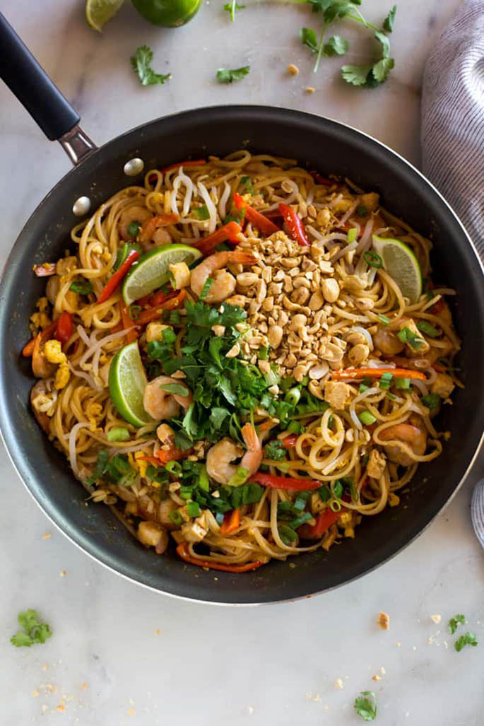 Skillet of Homemade Pad Thai
