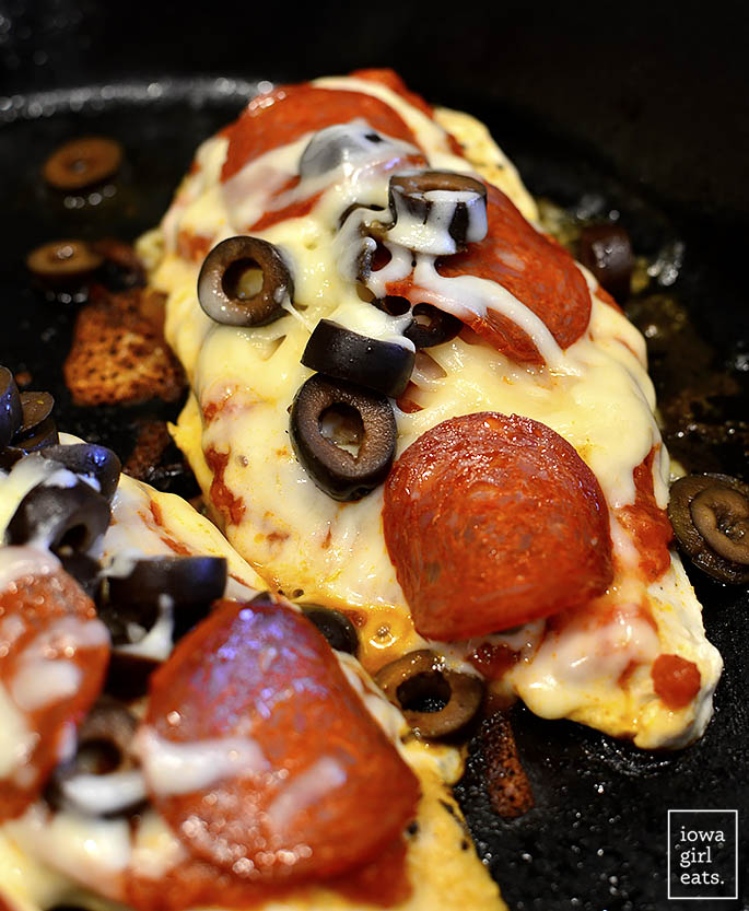 Pizza Chicken cooking in a skillet