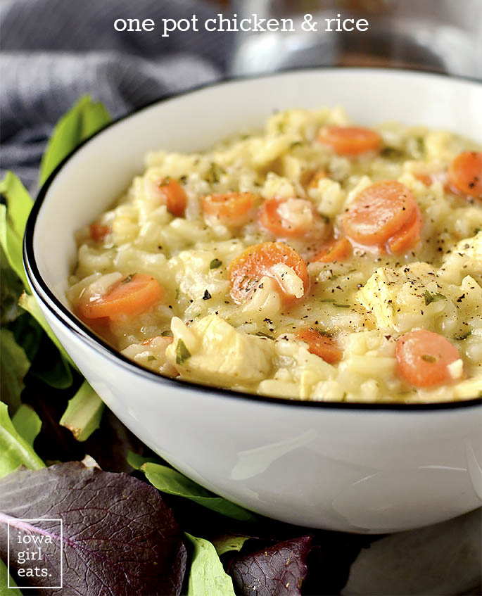Bowl of easy chicken and rice