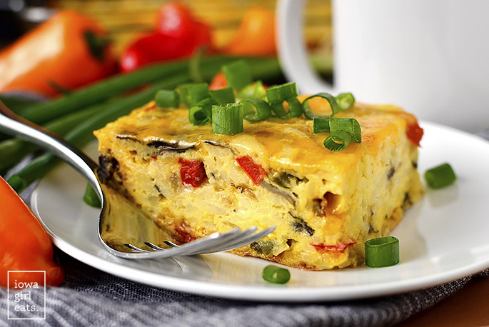 Piece of breakfast casserole with a fork