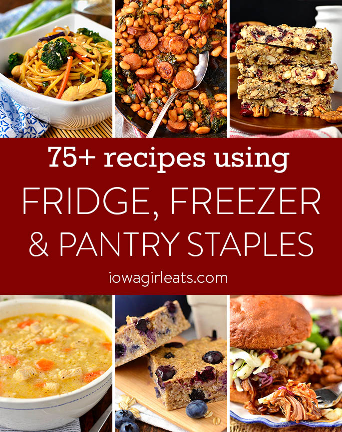 Photo collage of recipes you can make with ingredients in your fridge, freezer or pantry