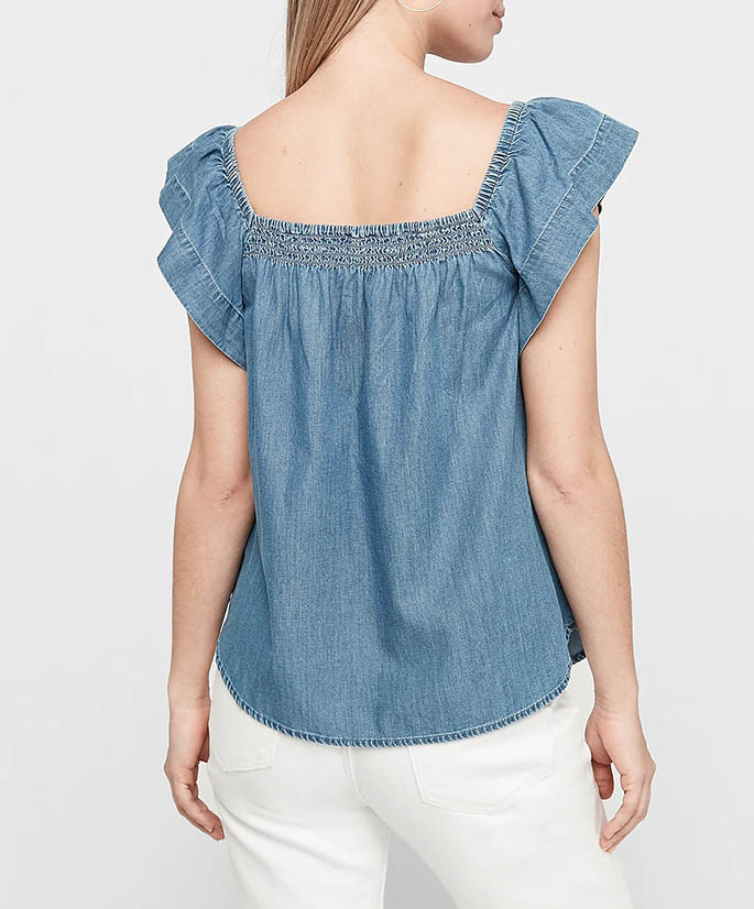 Chambray Ruffle Top on Model