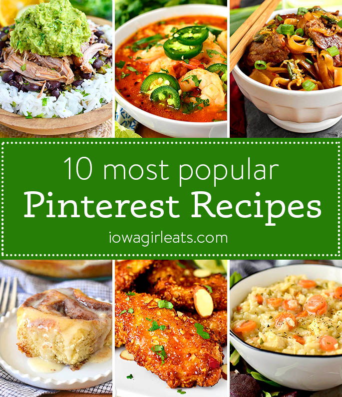 Photo collage of popular pinterest recipes