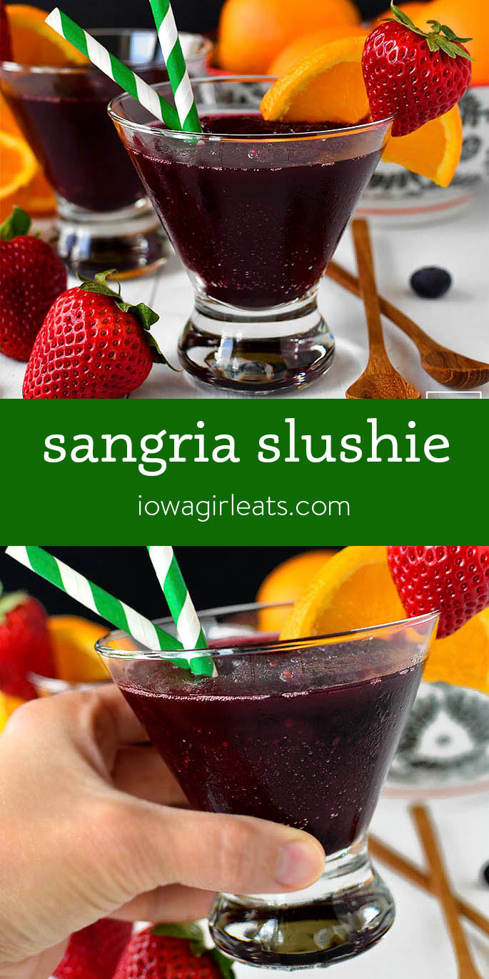Photo collage of Sangria Slushie