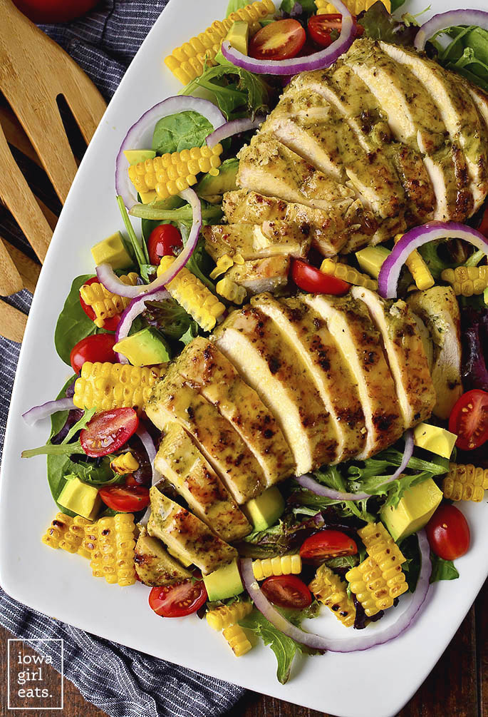 Overhead photo of a grilled chicken salad