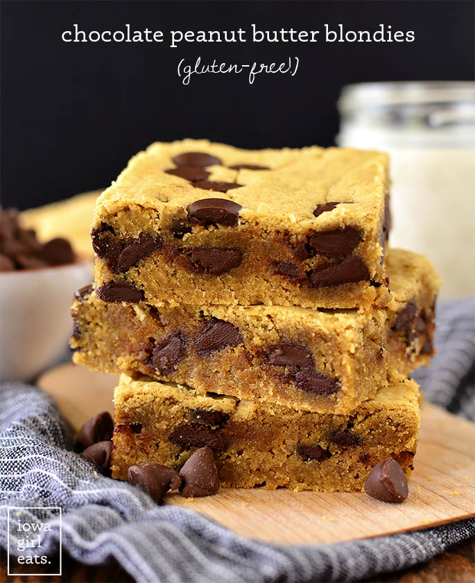 Stack of Chocolate Peanut Butter Blondies on a plate