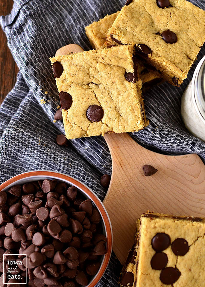 Chocolate Peanut Butter Blondies on a napkin