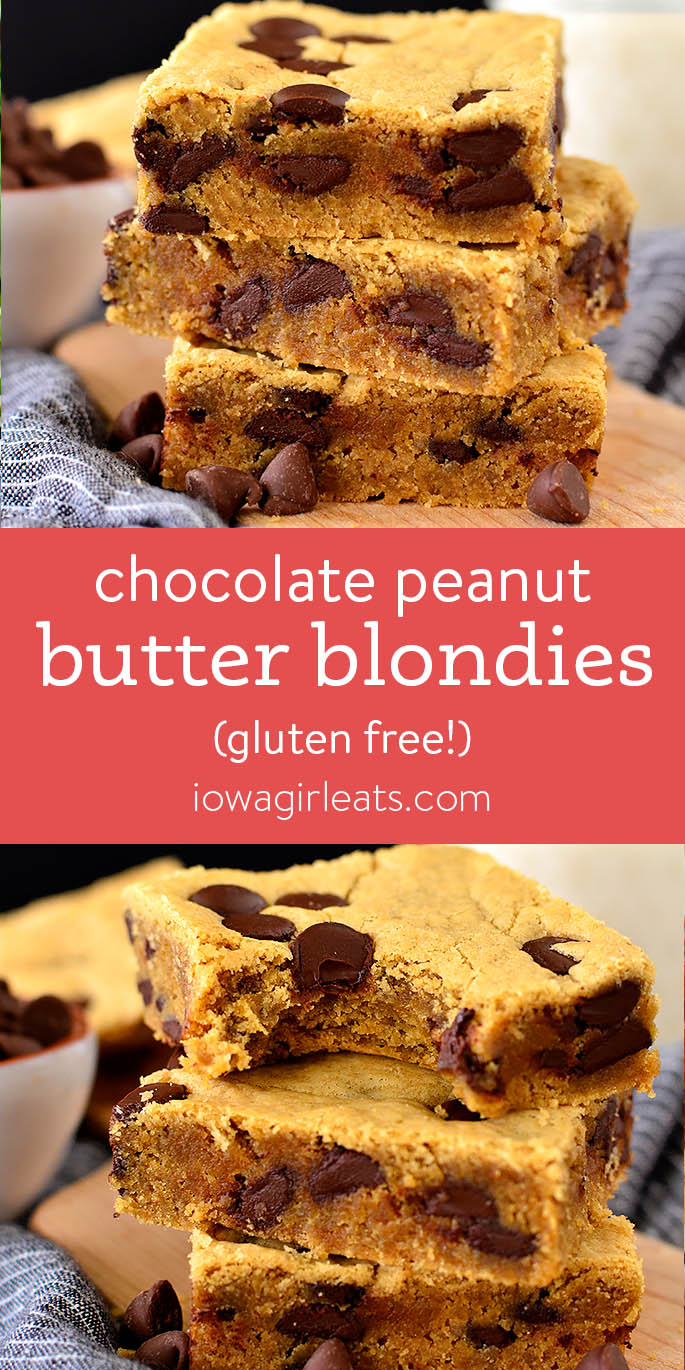 Image collage of Chocolate Peanut Butter Blondies