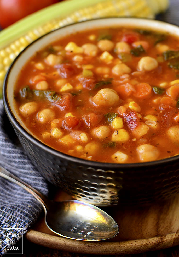 Bowl of summer chickpea stew