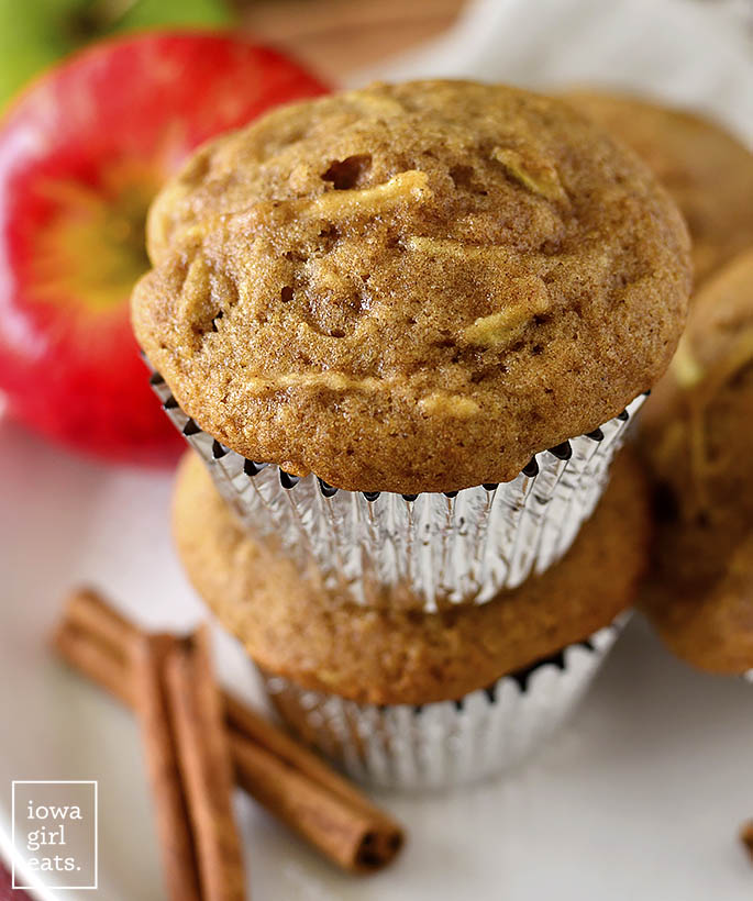 Gluten Free Apple Cinnamon Muffins stacked on top of each other