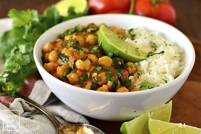 Bowl of vegan chickpea curry