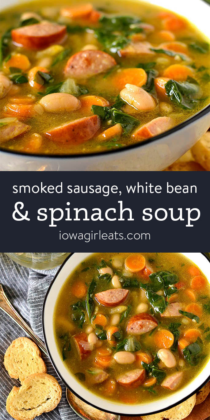 Photo collage of Smoked Sausage, White Bean and Spinach Soup